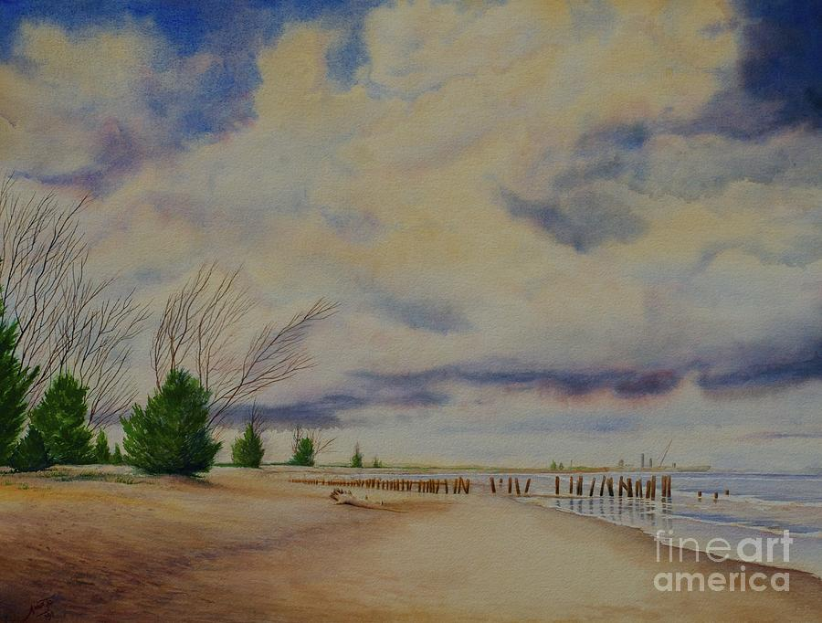 Piers Painting - Port Canaveral Beach by AnnaJo Vahle