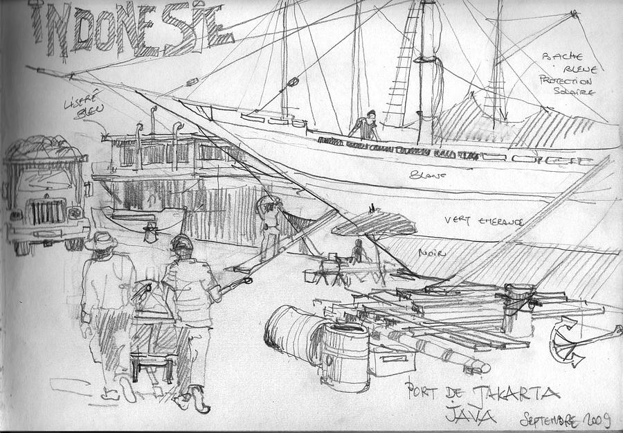 Drawing Drawing - port of Jakarta by Christian Couteau