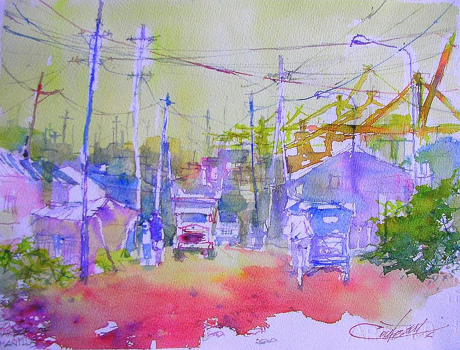 Watercolor Painting - Port Of Manilla by Christian Couteau