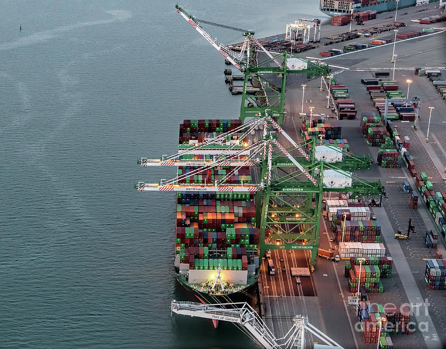 Port Of Oakland Photograph - Port Of Oakland Aerial Photo by David Oppenheimer