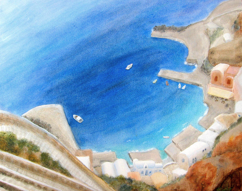 Landscape Painting - Port Of Oia by Keiko Richter