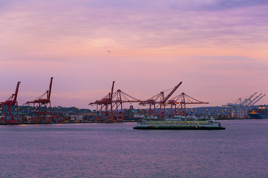 Seattle Photograph - Port Of Seattle During Colorful Sunset by David Gn