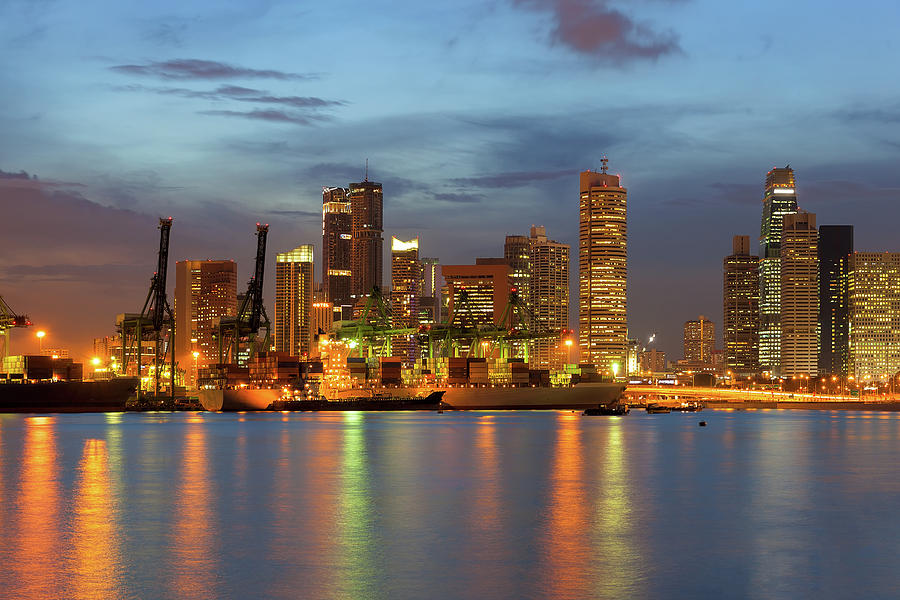 Singapore Photograph - Port Of Singapore With City Skyline by David Gn