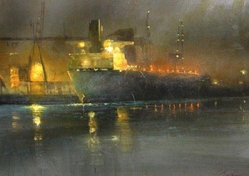 Port Of Stockton Nocturne Painting by Gil Dellinger
