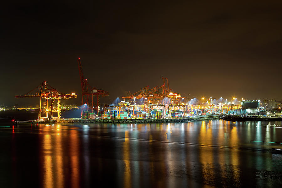 Vancouver Photograph - Port Of Vancouver Bc At Night by David Gn
