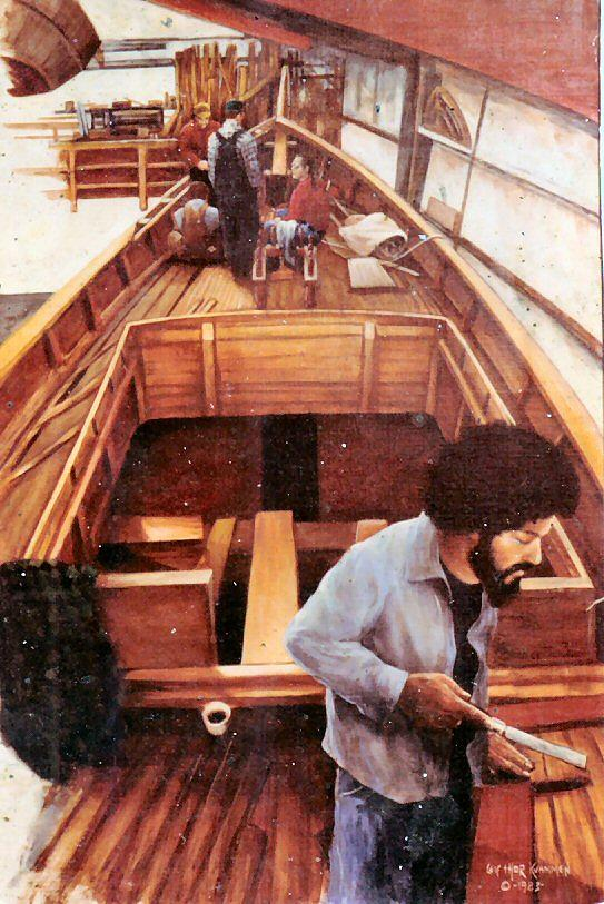 Wooden Boat Painting - Port Townsend Boatworks by Leif Thor Kvammen