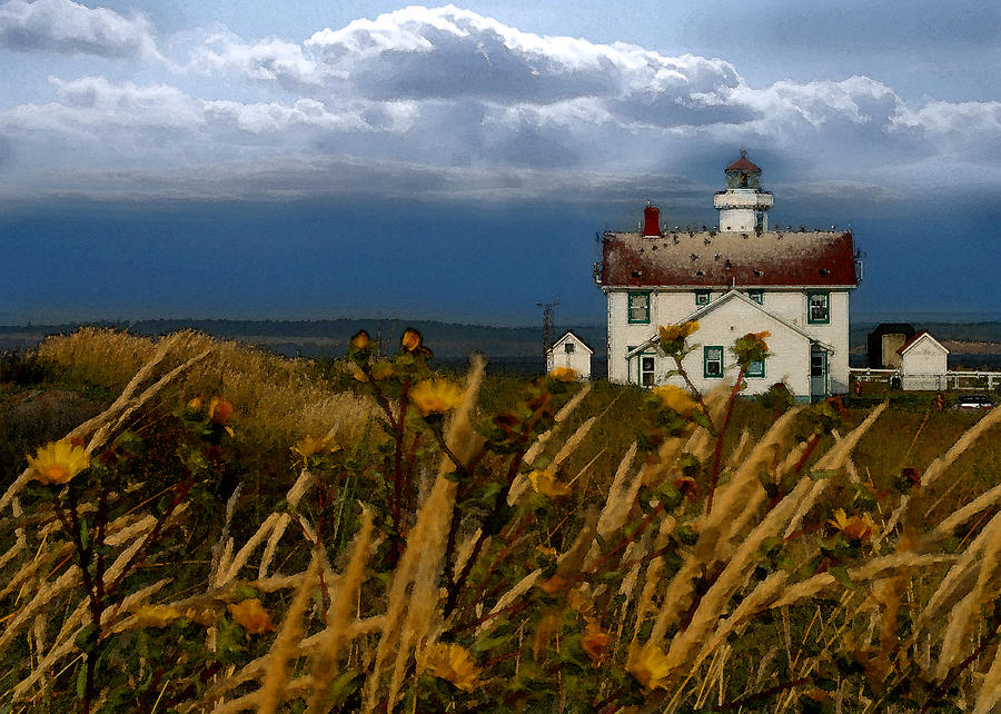 Lighthouse Digital Art - Port Townsend Light House Wa by Joseph G Holland