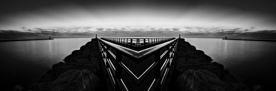Portage Lake Pier Black And White Reflection Digital Art