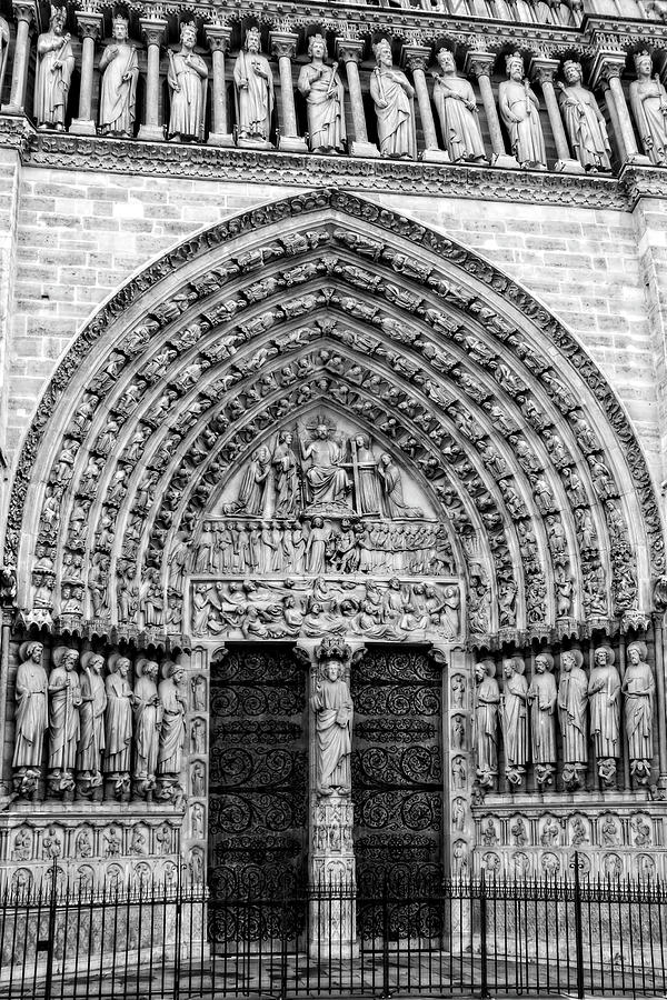 Portal Of Last Judgment, Notre Dame, Paris in Black and White by Kay Brewer