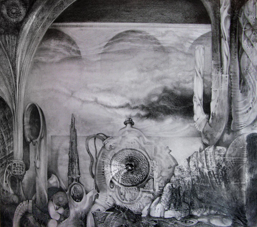 Fantastic Realism Drawing - Portal To Bogomils Universe Iv by Otto Rapp