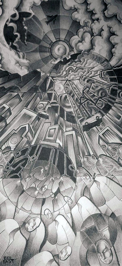 Charcoal Drawing - Portals by Myron  Belfast