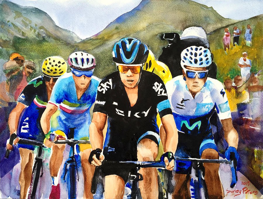 Tour Painting - Porte Quintana Froome And Nibali by Shirley Peters