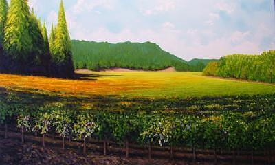 Porter Creek Vineyard Painting by Bill Gittins