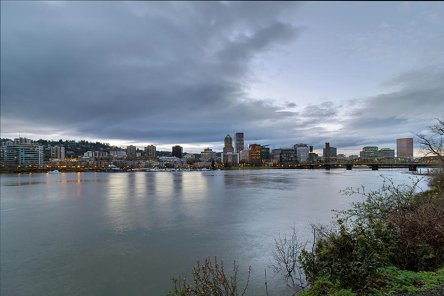 Portland Photograph - Portland City Downtown Cityscape during Evening by David Gn