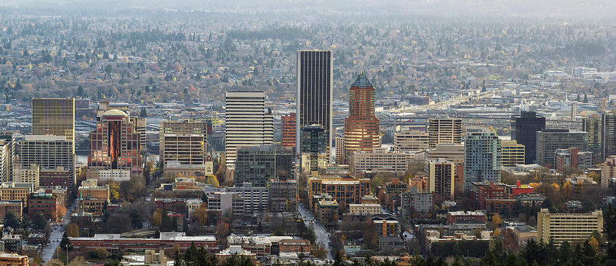 Portland Photograph - Portland City Downtown Cityscape Panorama by David Gn