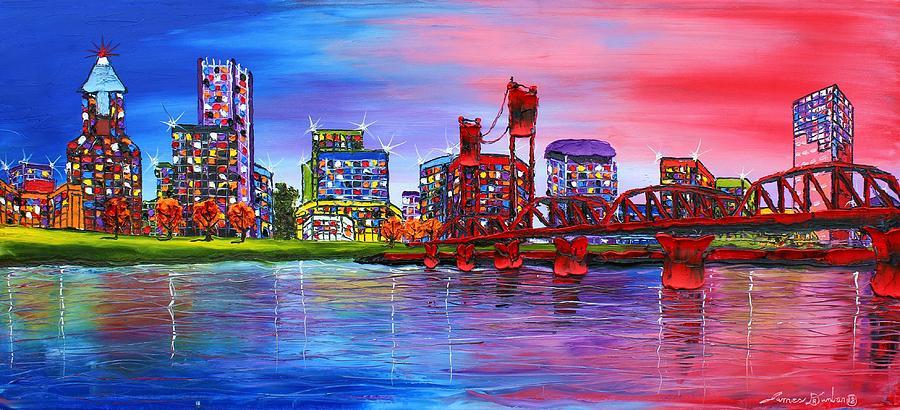 Portland City Lights #106 Painting by Dunbars Modern Art