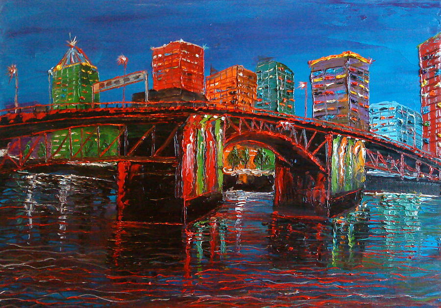 Colorful Painting - Portland City Lights Over The Morrison Bridge by Portland Art Creations