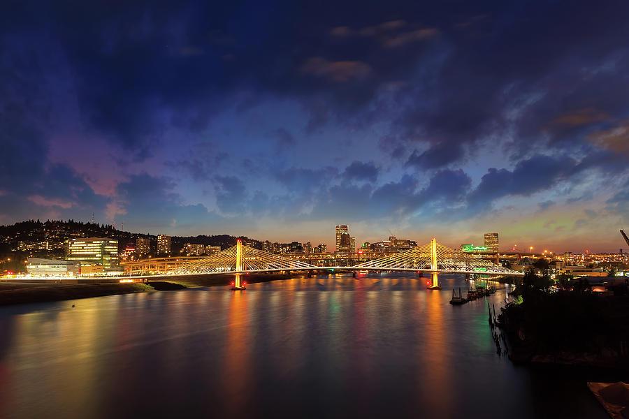 Portland Photograph - Portland City Skyline by Tilikum Crossing by David Gn