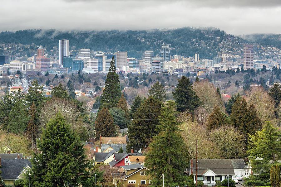 Portland Photograph - Portland City Skyline from Mount Tabor by David Gn