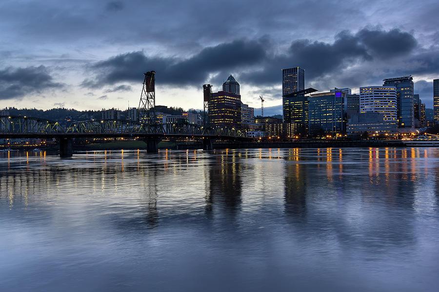 Portland Photograph - Portland City Skyline with Hawthorne Bridge at Dusk by David Gn