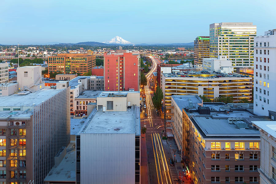 Portland Photograph - Portland Cityscape along Morrison Bridge by David Gn