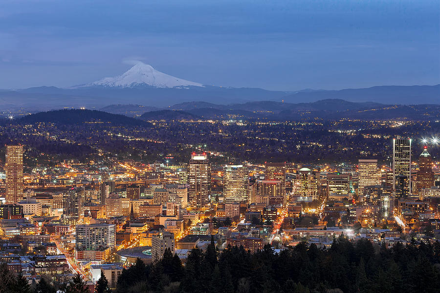 Portland Photograph - Portland Cityscape During Blue Hour by David Gn
