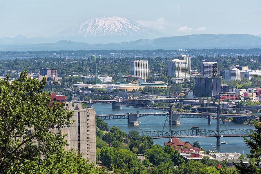 Portland Photograph - Portland Cityscape With Mount Saint Helens View by David Gn