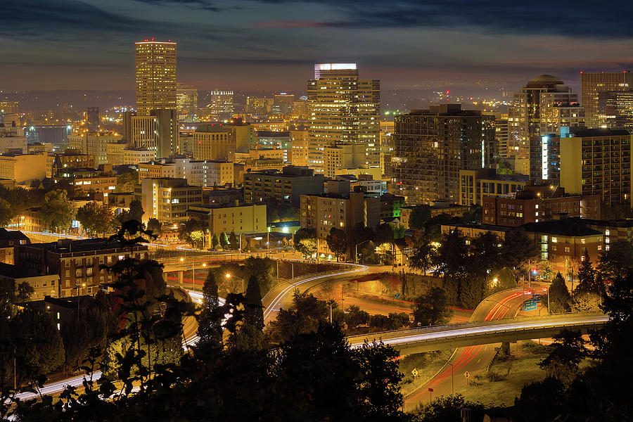 Portland Photograph - Portland Downtown Cityscape And Freeway At Night by David Gn