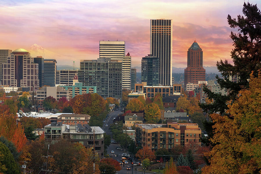 Portland Photograph - Portland Downtown Cityscape During Sunrise in Fall by David Gn