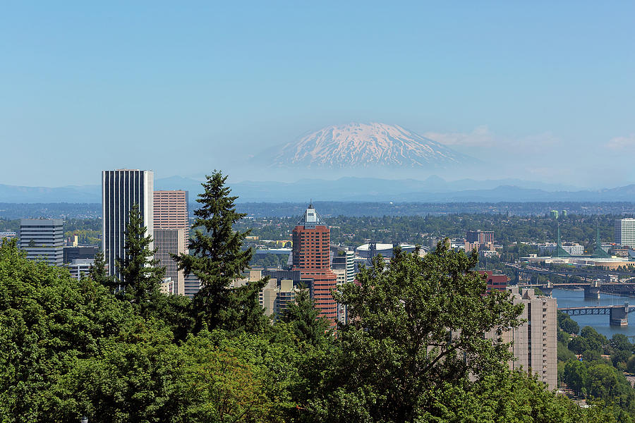 Portland Photograph - Portland Downtown Cityscape with Mount Saint Helens View by David Gn