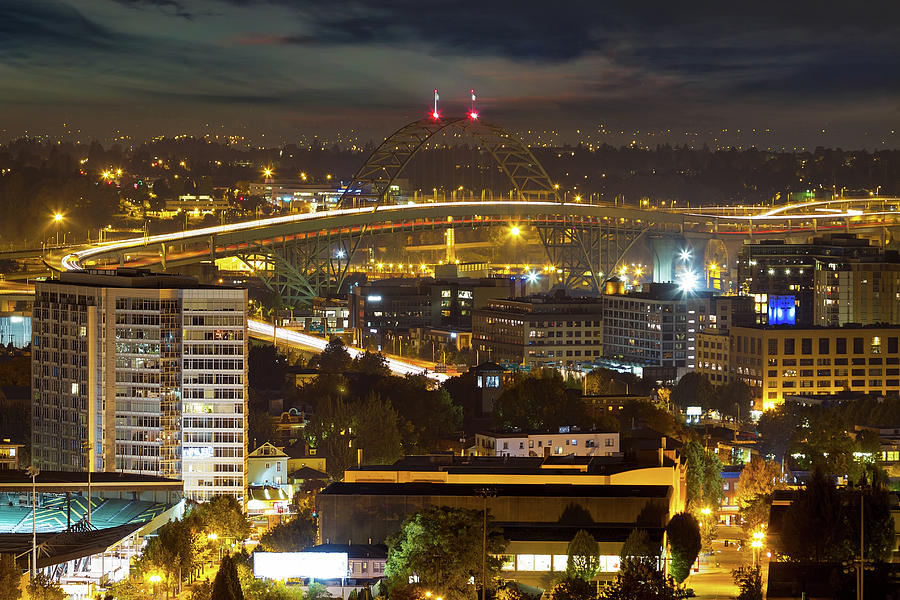 Portland Photograph - Portland Fremont Bridge Light Trails at Night by David Gn