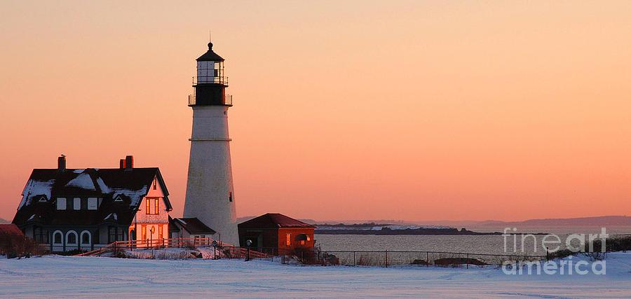 Coastline Photograph - Portland Head Light At Dawn - Lighthouse Seascape Landscape Rocky Coast Maine by Jon Holiday