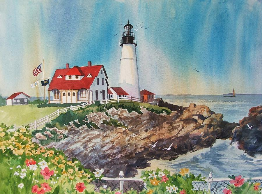 Lighthouse Painting - Portland Head Light by Dianna  Willman