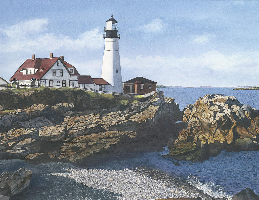 Lighthouse Painting - Portland Head Light by Sharon Farber