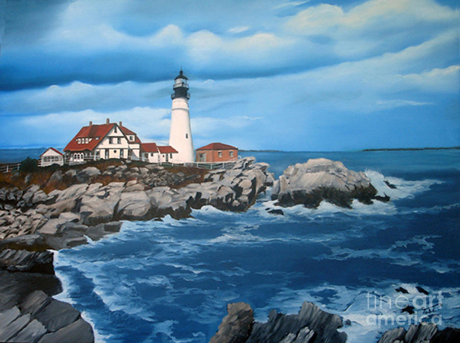 Seascape Painting - Portland Head Light by Tobi Czumak