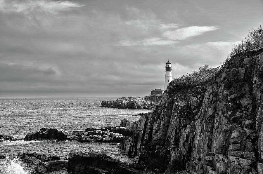 Portland Photograph - Portland Head Lighthouse - Cape Elizabeth Maine In Black And White by Bill Cannon