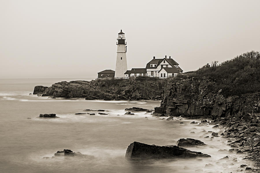 Portland Head Lighthouse foggy morning Sepia by David Smith