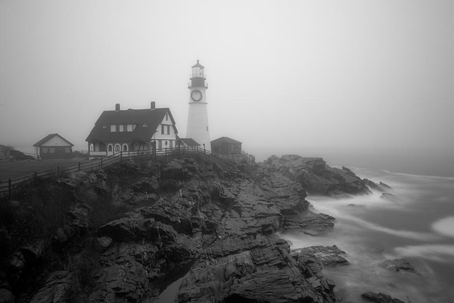Portland Head Lighthouse in fog Black and White by David Smith