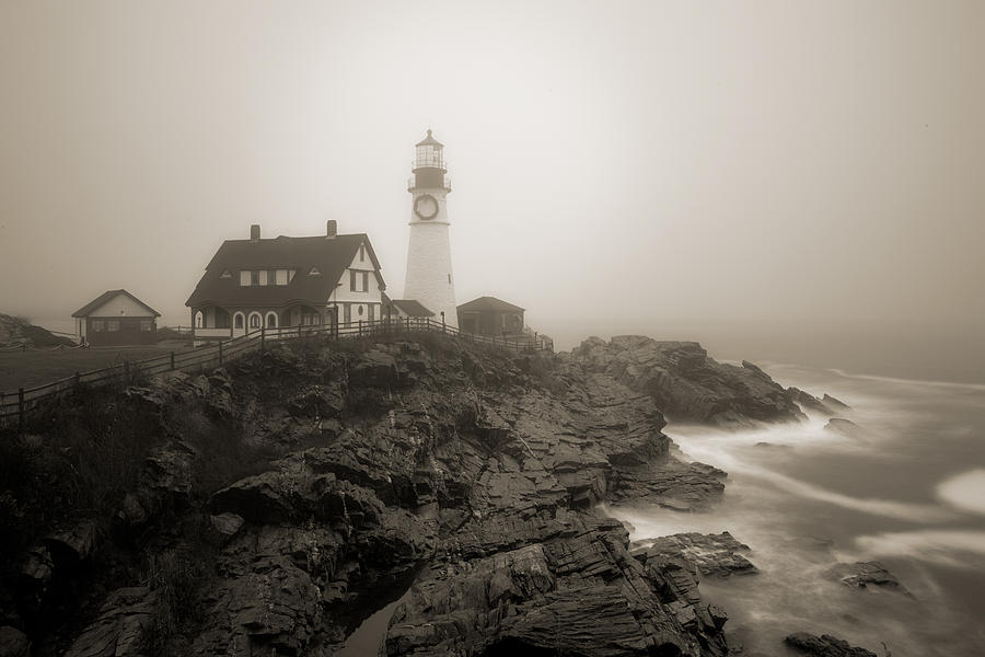 Portland Head Lighthouse in fog sepia by David Smith