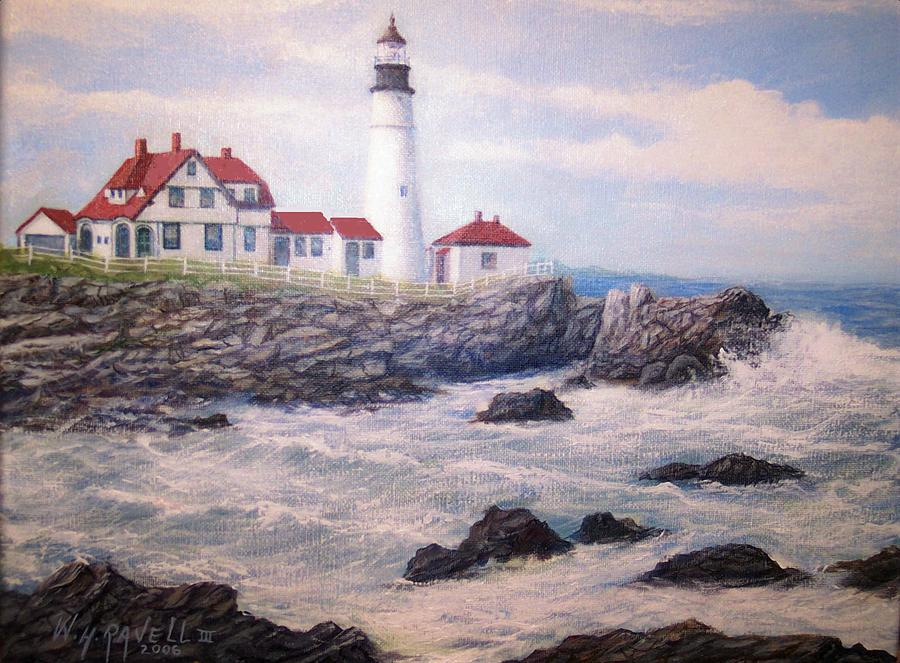 Lighthouse Painting - Portland Head Lighthouse by William H RaVell III