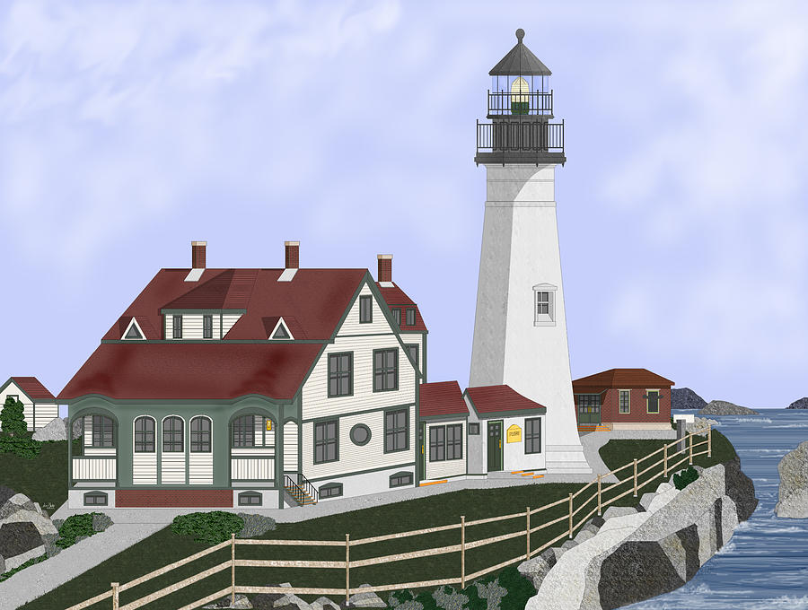 Portland Head Lighthouse Painting - Portland Head Maine on Cape Elizabeth by Anne Norskog