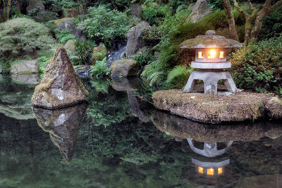 Portland Photograph - Portland Japanese Garden At Twilight by David Gn