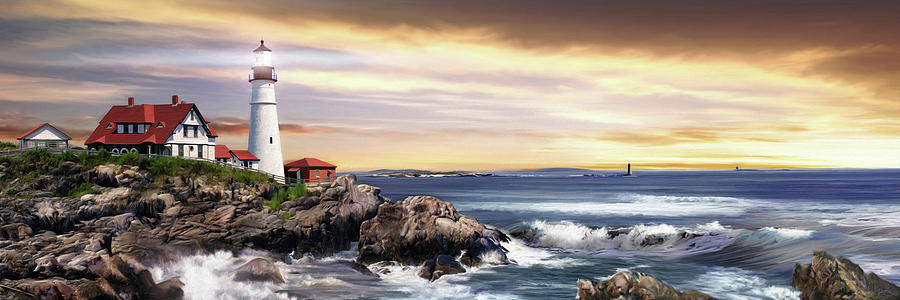 Lighthouse Painting - Portland Lighthouse by Brent Borup