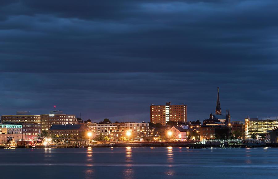 Portland Night Skyline Photograph by Jack Milton