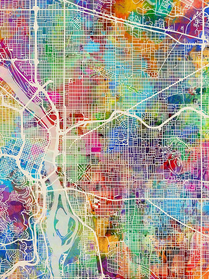Portland Oregon City Map Digital Art by Michael Tompsett on