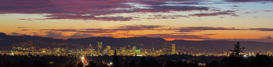 Portland Photograph - Portland Oregon City Skyline Sunset Panorama by David Gn