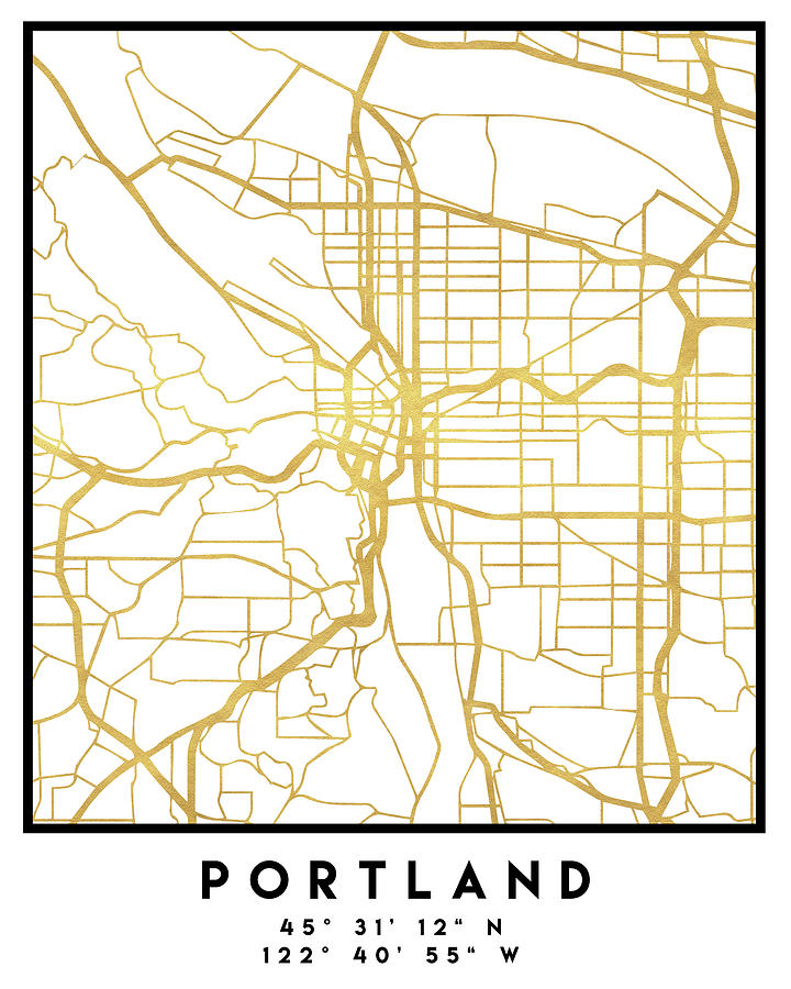 Portland Oregon City Street Map Art on