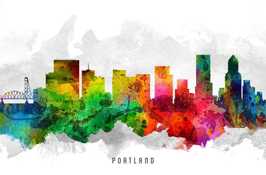Portland Painting - Portland Oregon Cityscape 12 by Aged Pixel