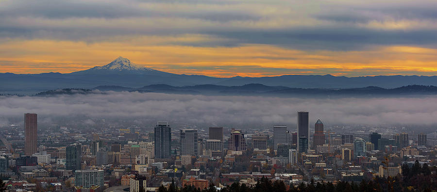 Portland Photograph - Portland Oregon Cityscape And Mount Hood At Sunrise by David Gn