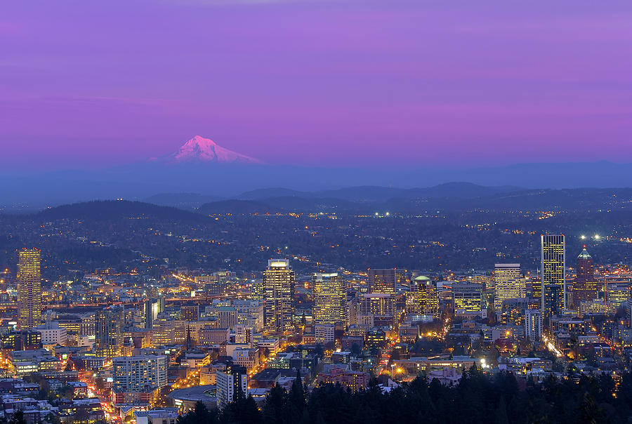 Portland Photograph - Portland Oregon Cityscape At Dusk by David Gn